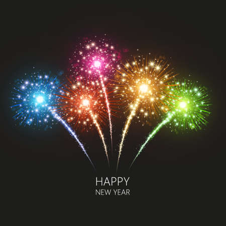 wish of happy holidays: Holiday Fireworks Background Vector Realistic vector. Happy New Year Illustration