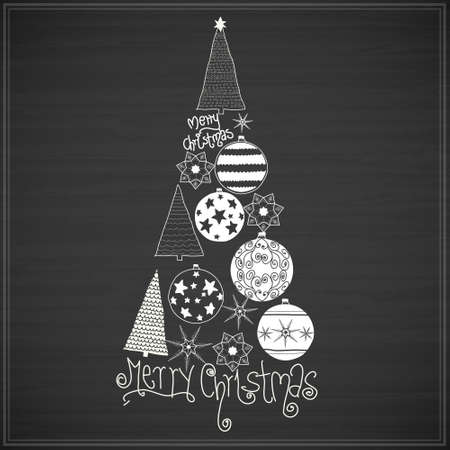 black board: White hand drawn christmas black things on board. Vector