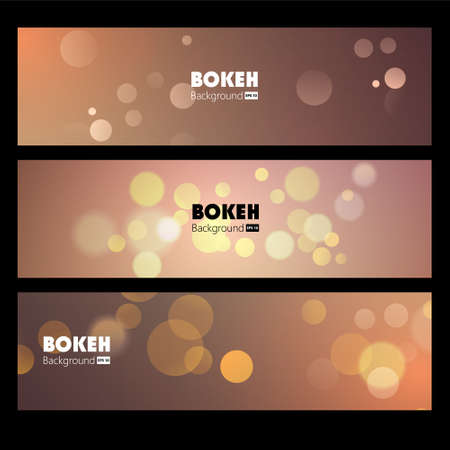 nightlife: Vector Banners with blurry background bokeh and glowing glitter.