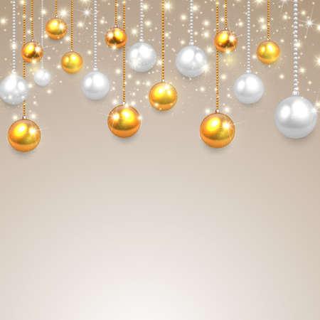 dorado: realista, vector de plata bolas de oro de la Navidad fijados. Vectores