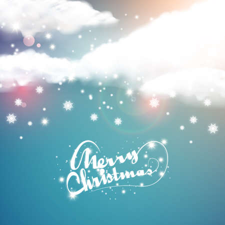 blue christmas: Bokeh Christmas background with snowflakes and clouds Illustration