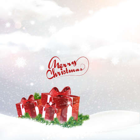 snowscape: Christmas landscape background with giftbox, vector illustration