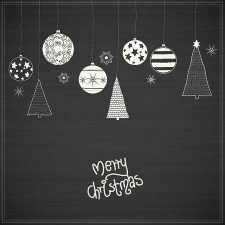 Christmas baubles. Hand - drawn collection of Christmas decoration