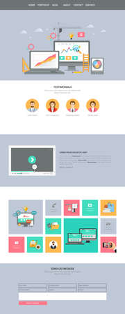 website buttons: Flat One Page Website interface. Buttons, icons, flat design elements