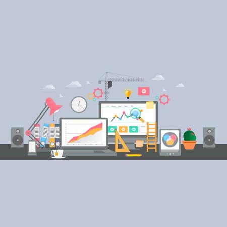 analyse: Workplace flat design vector illustration.