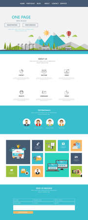 all in: Modern Style Flat One page website design template. All in one set for website design includes harm one page website template.
