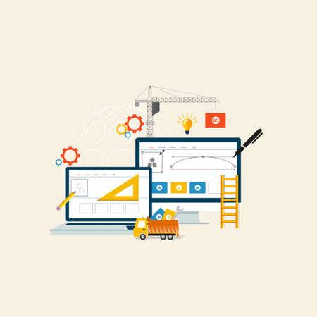 BuildingDesigning il sito Web o applicazione. disegno vettoriale stile piatto