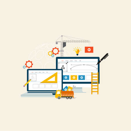 hosting: BuildingDesigning the website or application. Flat style vector design Illustration