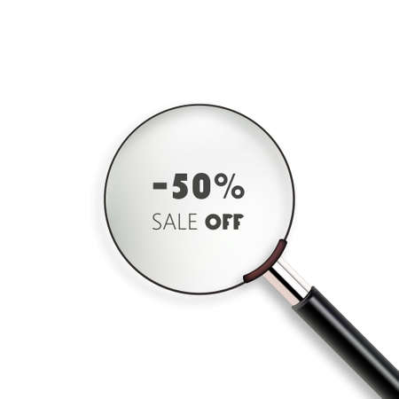 50  off: 50 OFF sale word with magnifying glass, business concept