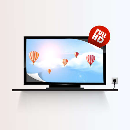 lcd: Vector lcd or plasma flat TV. Icon isolated over white background. Blue sky and clouds with reflection on the display. Illustration