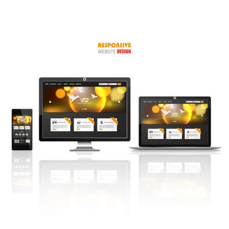 laptop screen: Website Template on Smart phone, laptop and flat screen.