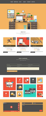 harm: Modern Style Flat One page website design template. All in one set for website design includes harm one page website template.
