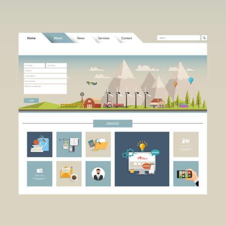 Modern website template with eco flat landscape illustration