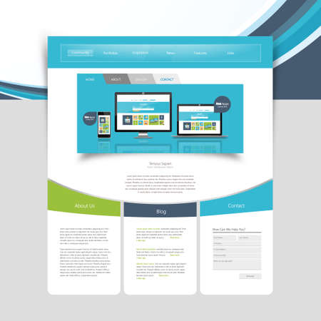 magnyfying glass: Business minimalistic website design template. Vector Design.