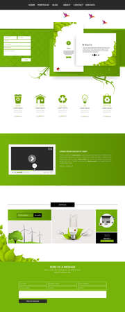Eco Business One page website design template. Vector Design.