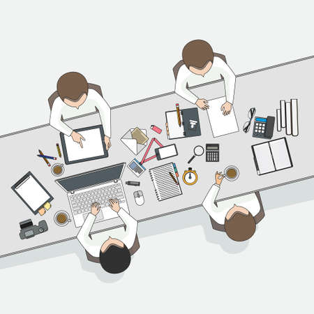 business meeting: Business meeting and brainstorming. Flat design.