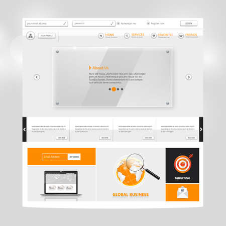 element template: Website Template for your business. Vector