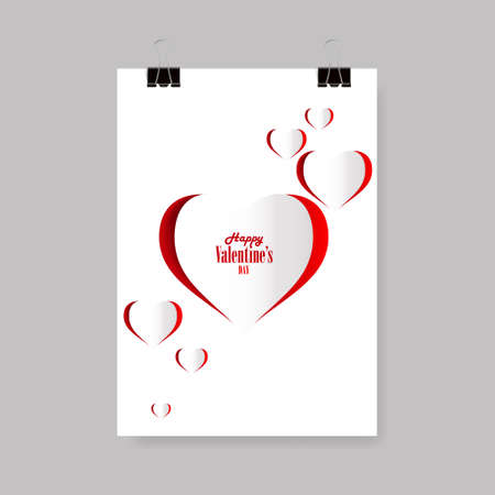 simple frame: Abstract Background paper hearts Valentines day. Love Illustration