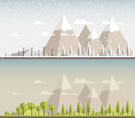 snow and trees: Landscape. Isolated nature landscape with mountains, hills. river and trees on background. Summer landscape. Flat style vector illustration. Illustration