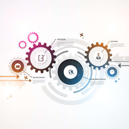 Abstract Background, Colorful gears, business design. Illustration