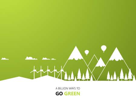 green eco: Eco Green Background Design Landsape eps 10 Illustration