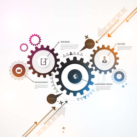 communication concept: Abstract Background, Colorful gears, business design. Illustration