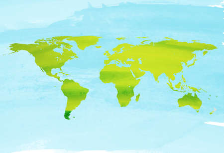 Hand drawn watercolor Earth, isolated vector illustration.