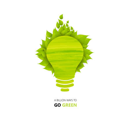 plant growing: Eco green energy concept, plant growing inside the light bulb Illustration