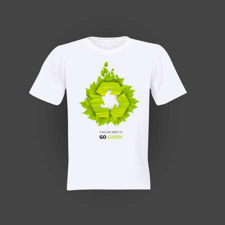 Verde Eco ricicla camicia design Vettoriali