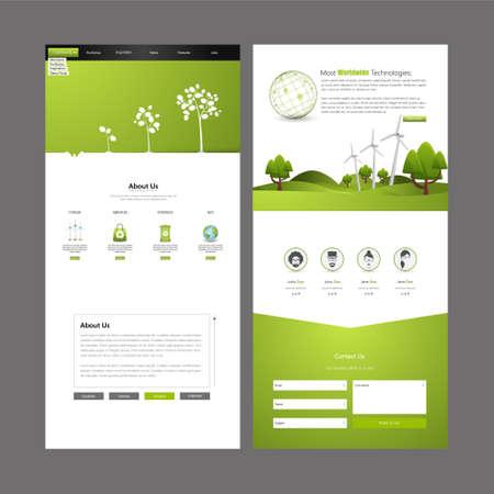 tree symbol: Eco Business One page website design template. Vector Design. Illustration