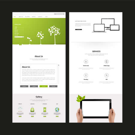 tree services company: Eco Business One page website design template. Vector Design. Illustration