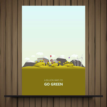 green fields: Flyer design. Landscape with fields and hills. Think Green. Ecology Concept.