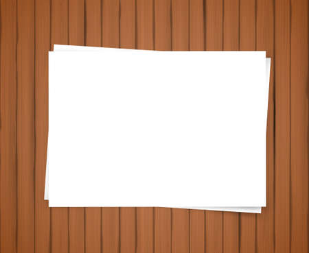 materialism: Realistic vector old brown wooden boards and blank paper Illustration