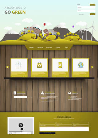 Modern Eco website template on wooden board with eco landscape illustration Vector Illustration