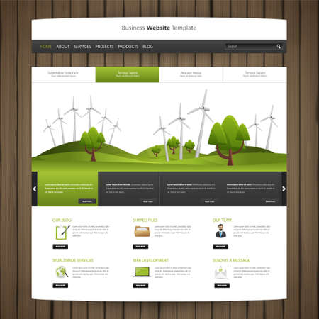 website header: Eco Website Design with wood texture and cartoon drawing style header,