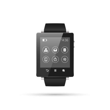 wordpress: Isolated SmartWatch vector illustration, interface with menu