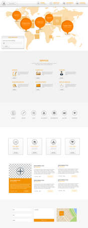 submenu: Clean white and orange one page website template