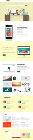 wordpress: One Page Business website design template. Vector Design. Illustration