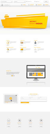 submenu: One Page Website Template, orange and white color