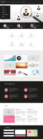 magnyfying glass: One Page Business website design template. Vector Design. Illustration