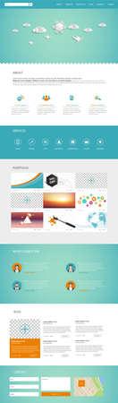 Una página de la plantilla de diseño web de negocios. Diseño vectorial. Ilustración de vector