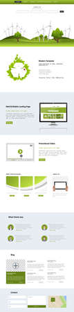 wordpress: Eco Business One page website design template. Vector Design. Illustration