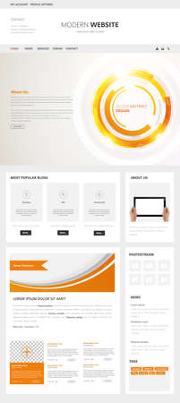 web template: One page Modern web page template, vector.