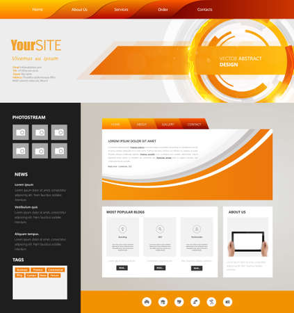 Modern web page template, vector.