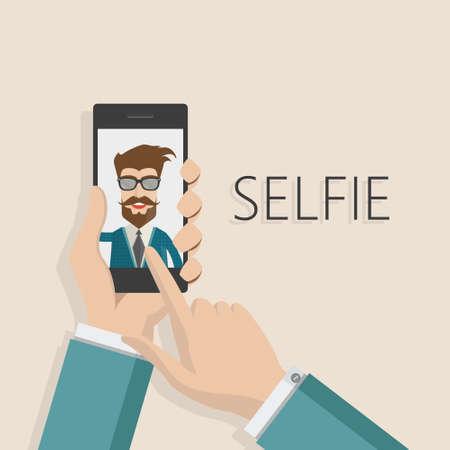 Taking Selfie Photo on Smart Phone concept background. vector illustration