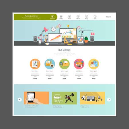Flat Design Website Template Vetores