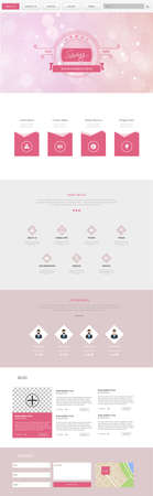 One Page Website Template with Spring Theme Header Designs with Blurred Backgrounds
