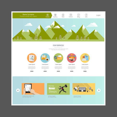 menu land: Flat Design Website Template Illustration