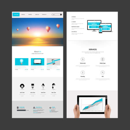 website header: One Page Website Template with Header Designs with Blurred Backgrounds