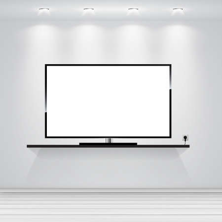 10th: Realistic Vector. Led TV. Vector interior design. Interior wall. Living room interior. Modern interior. EPS 10th Illustration